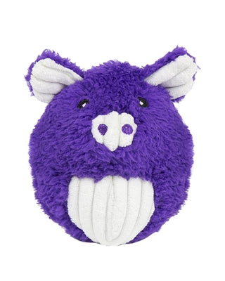 Plush Durable Knot-less Barnyard Squooshie Balls, Pig