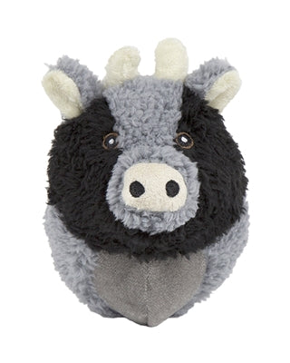 Plush Durable Knot-less Barnyard Squooshie Balls, Cow