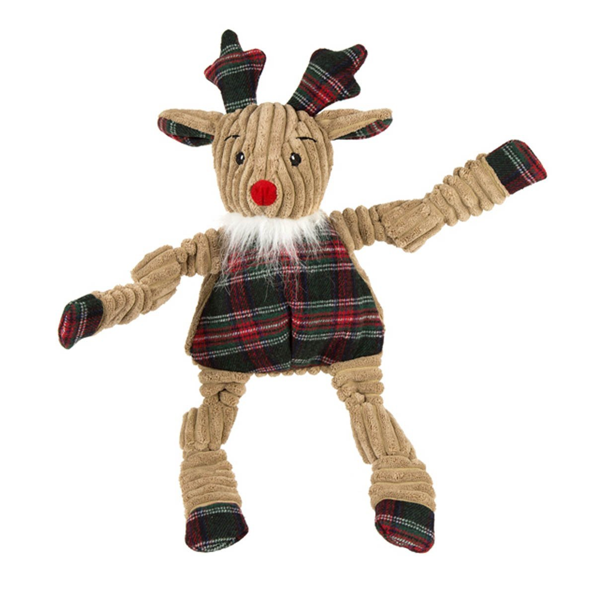 Hugglehounds Holiday Knottie w/Plaid Sweater Rudy, Large