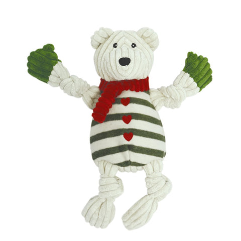 Holiday Polar Bear w/ Green Striped Sweater Knottie, Large