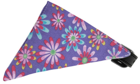 Lavender Crazy Daisies Bandana Pet Collar Black Size 16