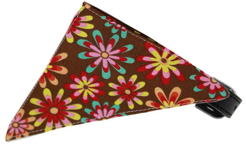 Chocolate Crazy Daisies Bandana Pet Collar Black Size 14