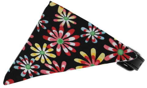 Black Crazy Daisies Bandana Pet Collar Black Size 10