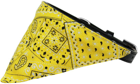 Yellow Western Bandana Pet Collar Black Size 14