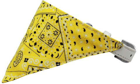 Yellow Western Bandana Pet Collar White Size 12