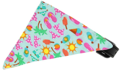 Aqua Summer Fun Bandana Pet Collar Black Size 20