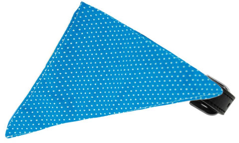 Aqua Swiss Dots Bandana Pet Collar Black Size 12
