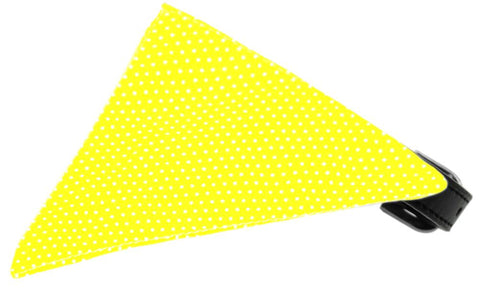 Yellow Swiss Dots Bandana Pet Collar Black Size 20