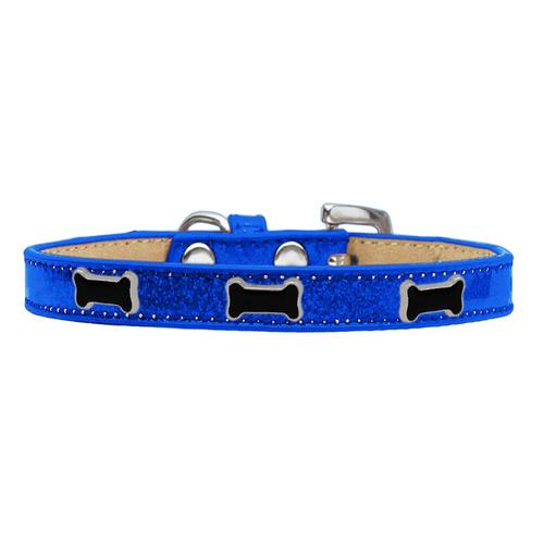 Black Bone Widget Dog Collar - Blue Ice Cream