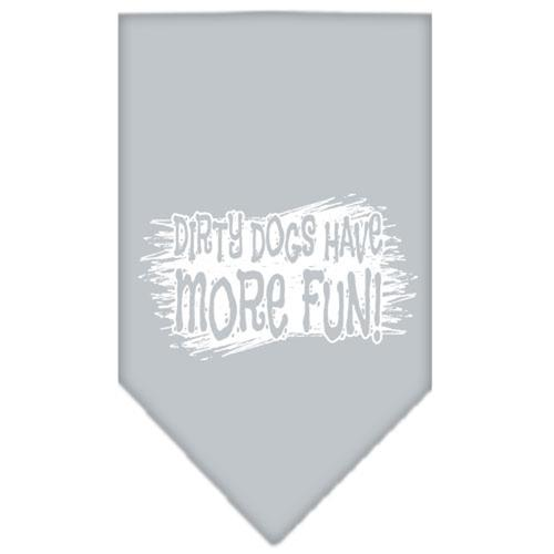 Dirty Dogs Have More Fun Dog Bandana - Gray