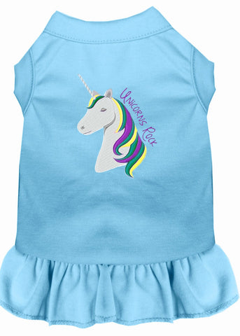 Unicorns Rock Embroidered Dog Dress Baby Blue XXL (18)