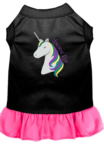 Unicorns Rock Embroidered Dog Dress Black with Bright Pink Lg (14)