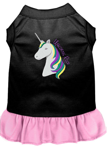 Unicorns Rock Embroidered Dog Dress Black with Light Pink Lg (14)