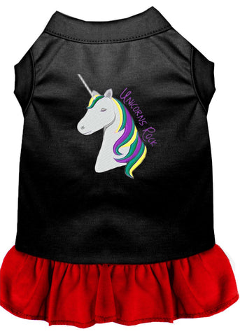 Unicorns Rock Embroidered Dog Dress Black with Red Lg (14)
