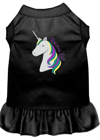 Unicorns Rock Embroidered Dog Dress Black Sm (10)