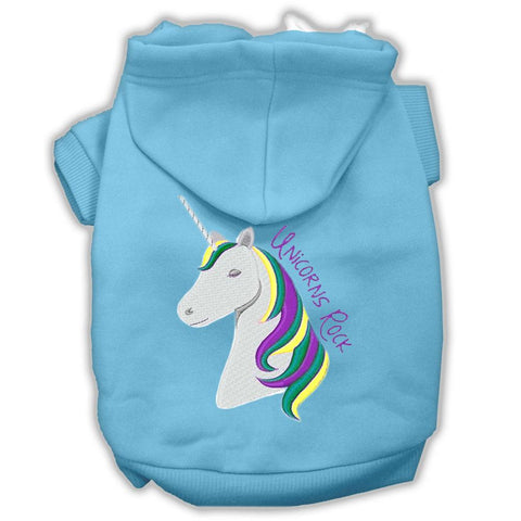 Unicorns Rock Embroidered Dog Hoodie Baby Blue XS (8)