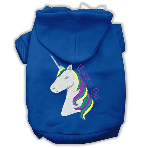 Unicorns Rock Embroidered Dog Hoodie Blue S (10)