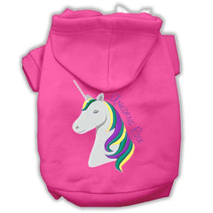 Unicorns Rock Embroidered Dog Hoodie Bright Pink XXXL(20)