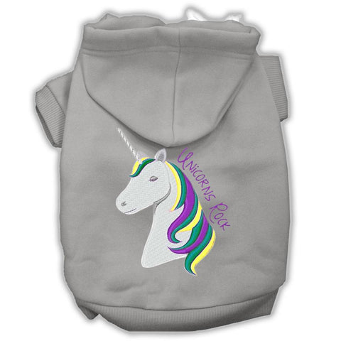 Unicorns Rock Embroidered Dog Hoodie Grey S (10)
