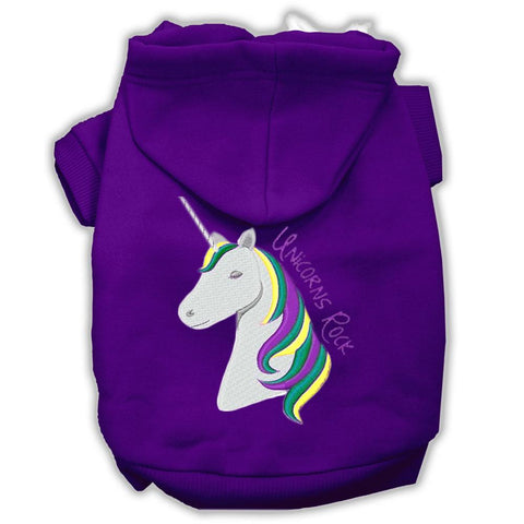 Unicorns Rock Embroidered Dog Hoodie Purple L (14)