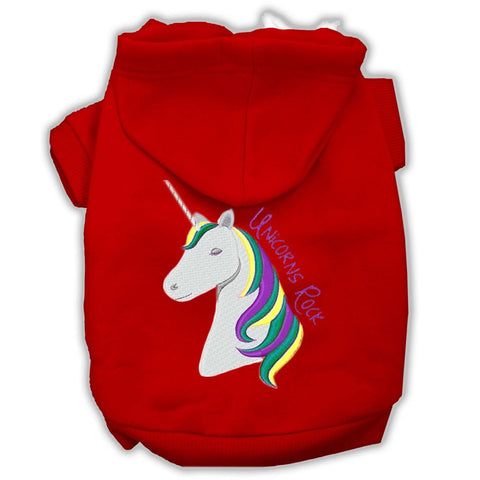 Unicorns Rock Embroidered Dog Hoodie Red XS (8)