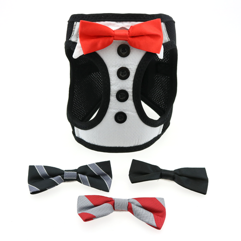 American River Ultra Choke Free Dog Harness - Tuxedo with 4 Interchangeable Bows