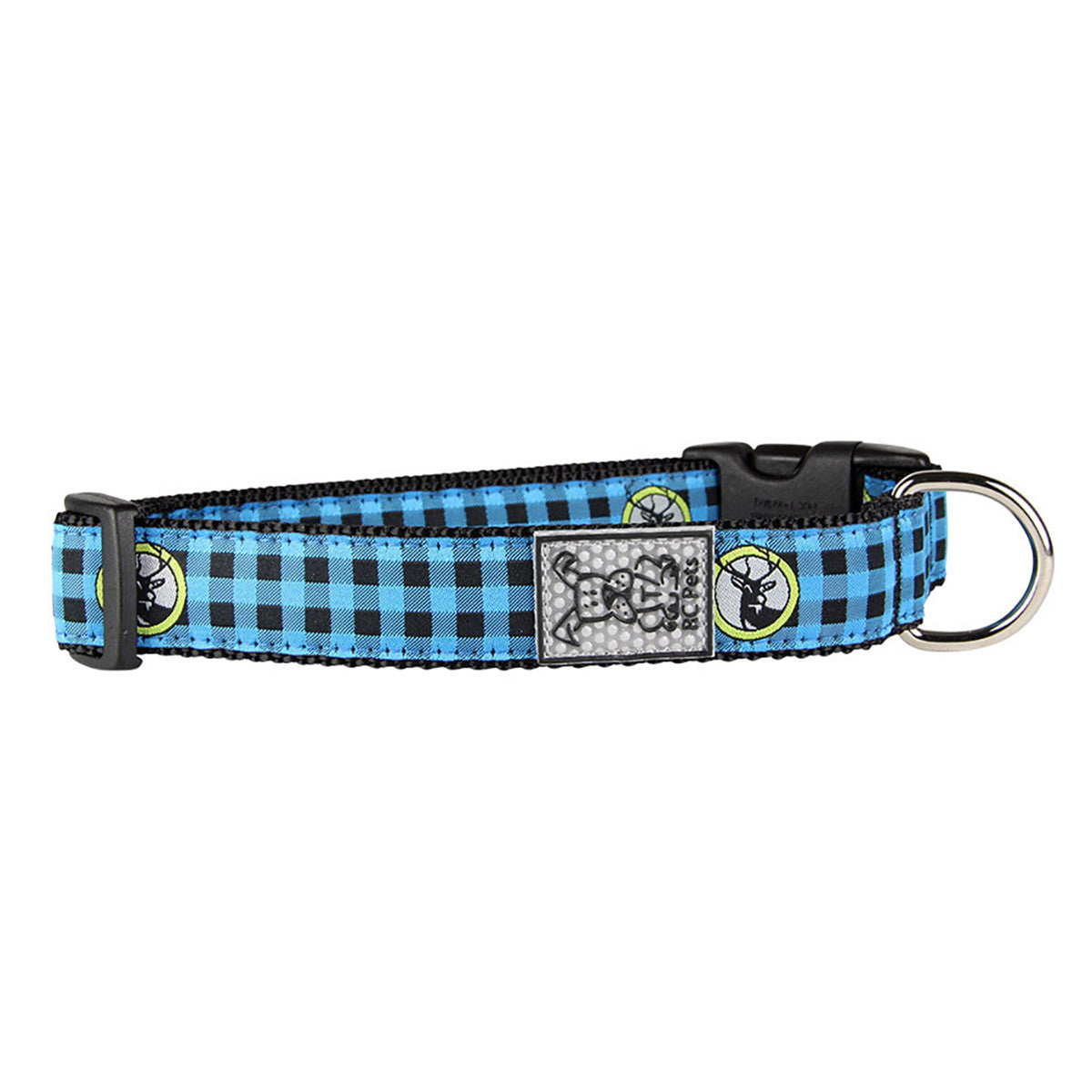 Buffalo Plaid Adjustable Dog Collar by RC Pet - Blue - Dog toys