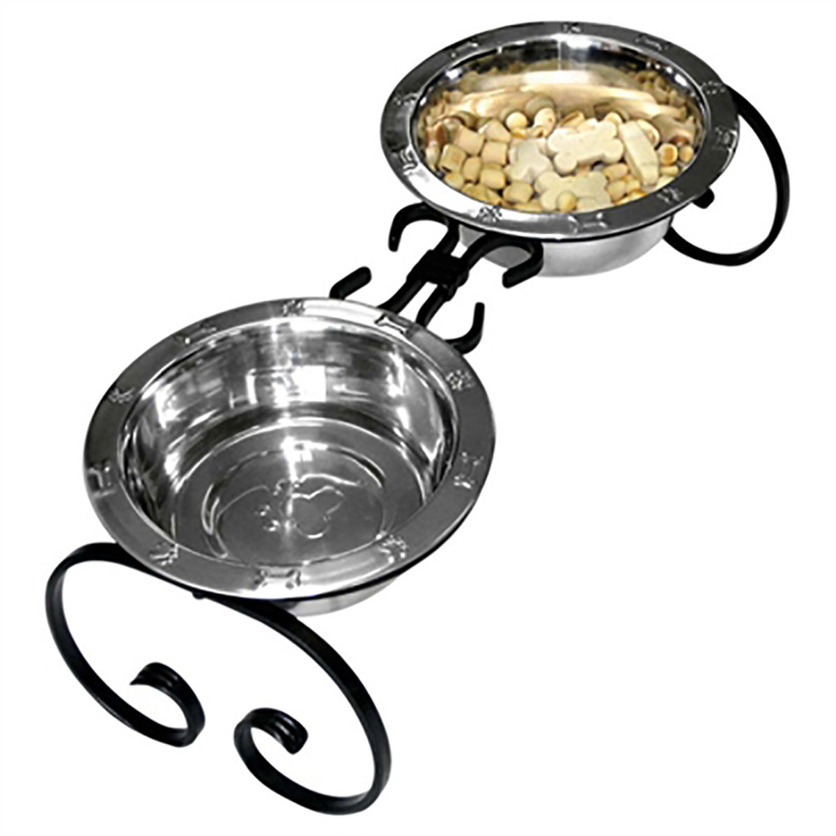 Classic Wrought Iron Dog Diner with Stainless Steel Bowls - Black - Dog toys