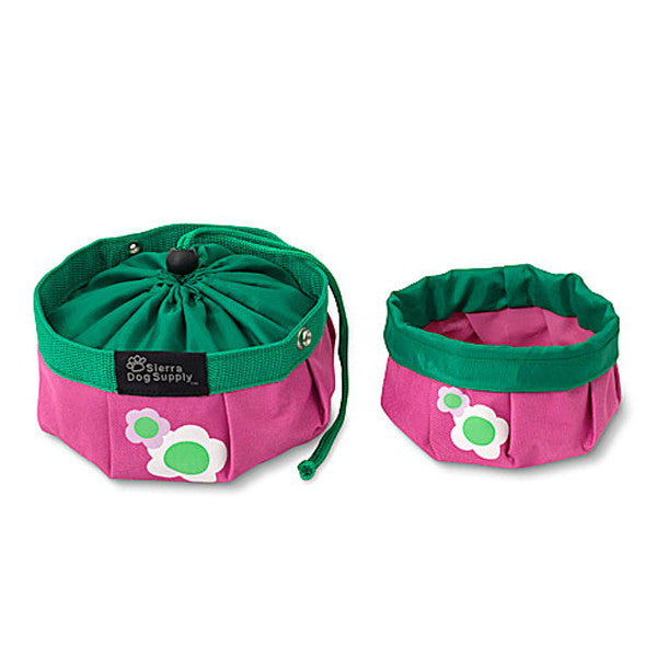Doggles Pink with Flowers Travel Bowl - Dog toys