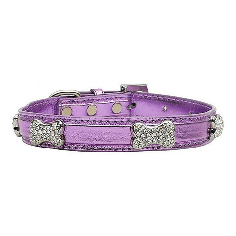 Foxy Metallic Dog Collar with Crystal Bones - Lilac