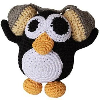 Mirage Knit Knacks Hipster Penguin Organic Dog Toy - Small