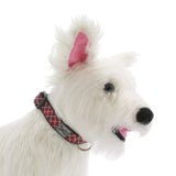 Tartan Adjustable Clip Dog Collar by RC Pet - Red - Dog toys