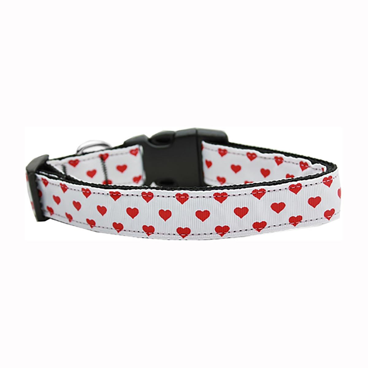 White and Red Dotty Hearts Nylon Dog Collar - White