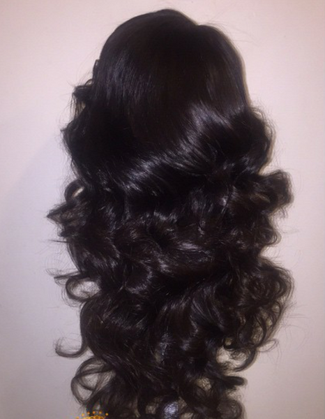custom wig, style and curled- Brazilian hair