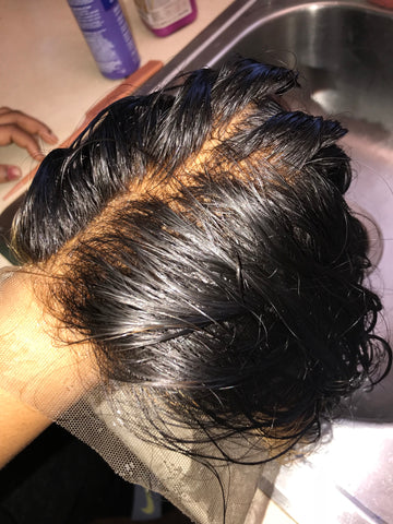 Bleached and plucked frontal closure