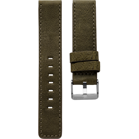 034 / Dark Olive Green / Silver Buckle