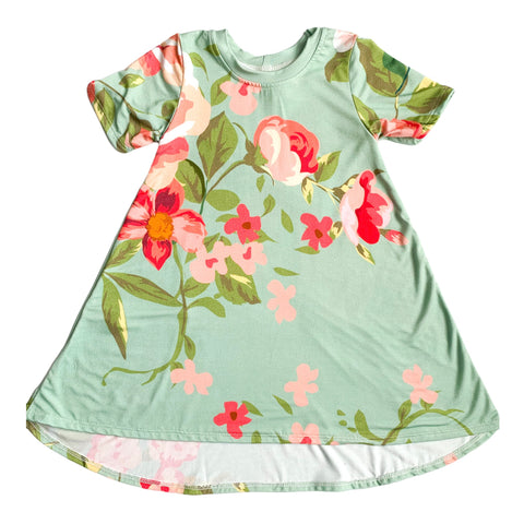 Mint Floral - Bamboo Dress