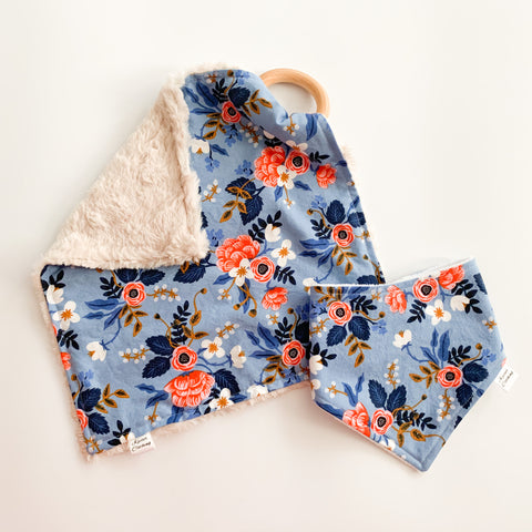Periwinkle Floral - Teether & Bib Gift Set
