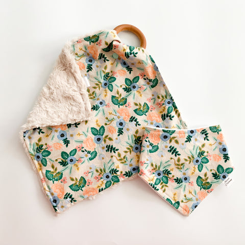Blush Spring Floral - Teether & Bib Gift Set