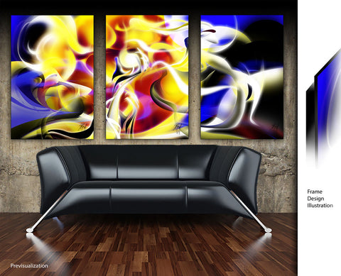 """Energy of Life"" - 3 Panels 30"" x 45"" Each Series Dye-Infused Metal with frames"