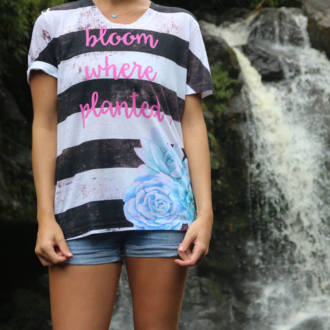 Bloom Where Planted Black and White Stripe All Over Print Women's All Over Print Tee-Hot Pink Text