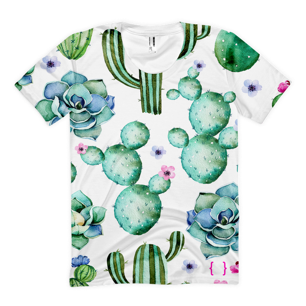 Cactus & Succulent Women's All Over Front Print T-shirt-Floral Ladies Tee