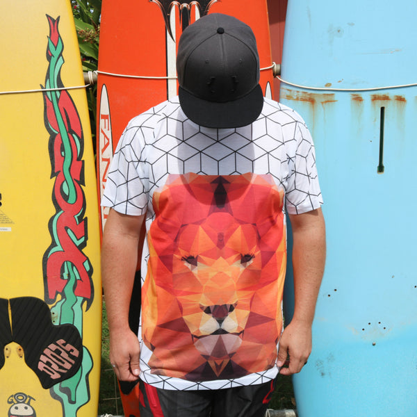 Meow Baby, Meow Geometric Lion Short Sleeve All Over Print Men's T-shirt