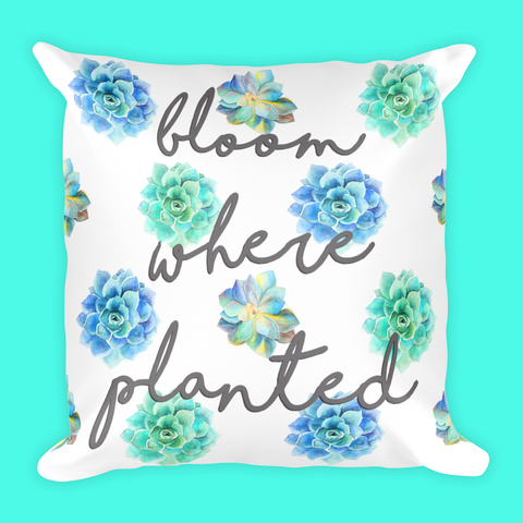 Bloom Where Planted Succulent Pillow-18x18 inches-Pillow with Case or Case Only