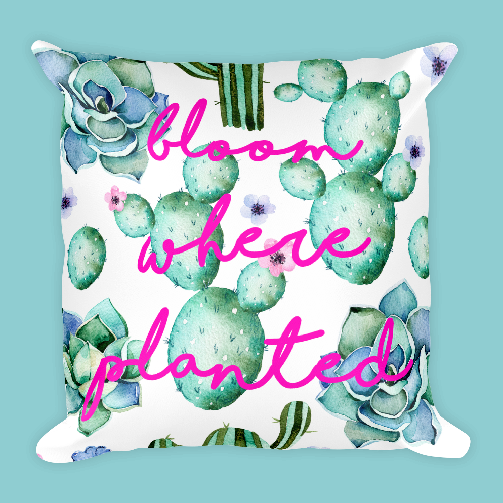 Cactus & Succulent Bloom Where Planted Square Pillow-18x18 Inch-With or Without Pillow Insert