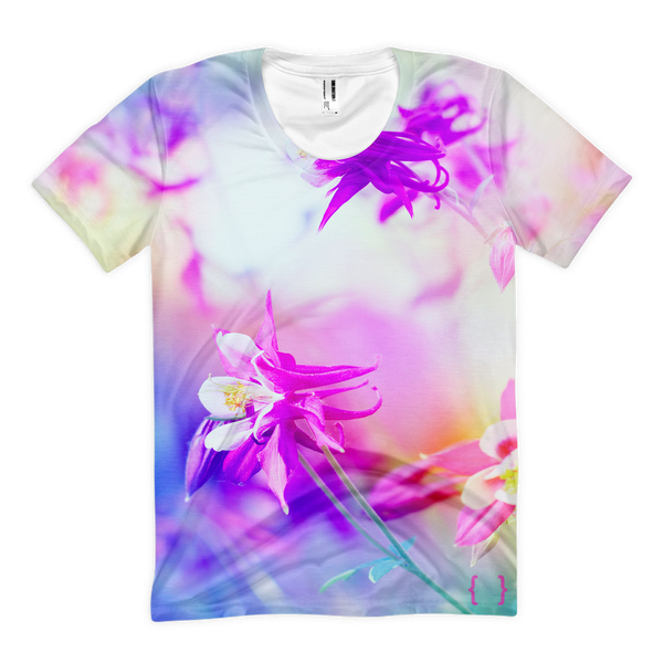 Wildflower All Over Print Women's T-shirt-Ladies Floral Tee