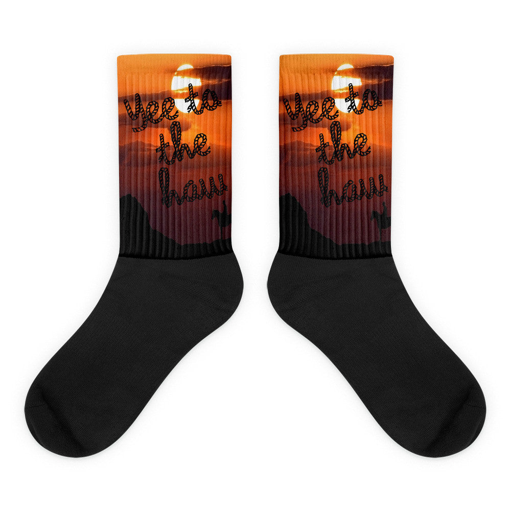 Cowboy Yee To The Haw Men's Socks-Printed Top With Solid Black Base