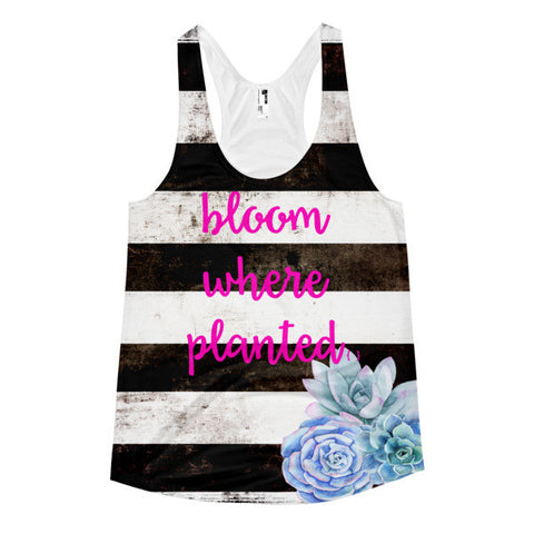 Bloom Where Planted Black & White With Succulents-Women's Racerback Tank-All Over Print Ladies Tanktop-Work Out
