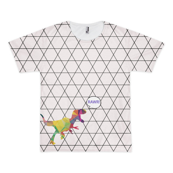 T-Rex Geometric Rawr Thought Bubble Short Sleeve Men's Tee-All Over Print Tee