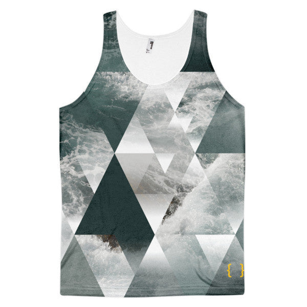 Geometric Triangles With Waves Men's All Over Print Classic Fit Tank Top